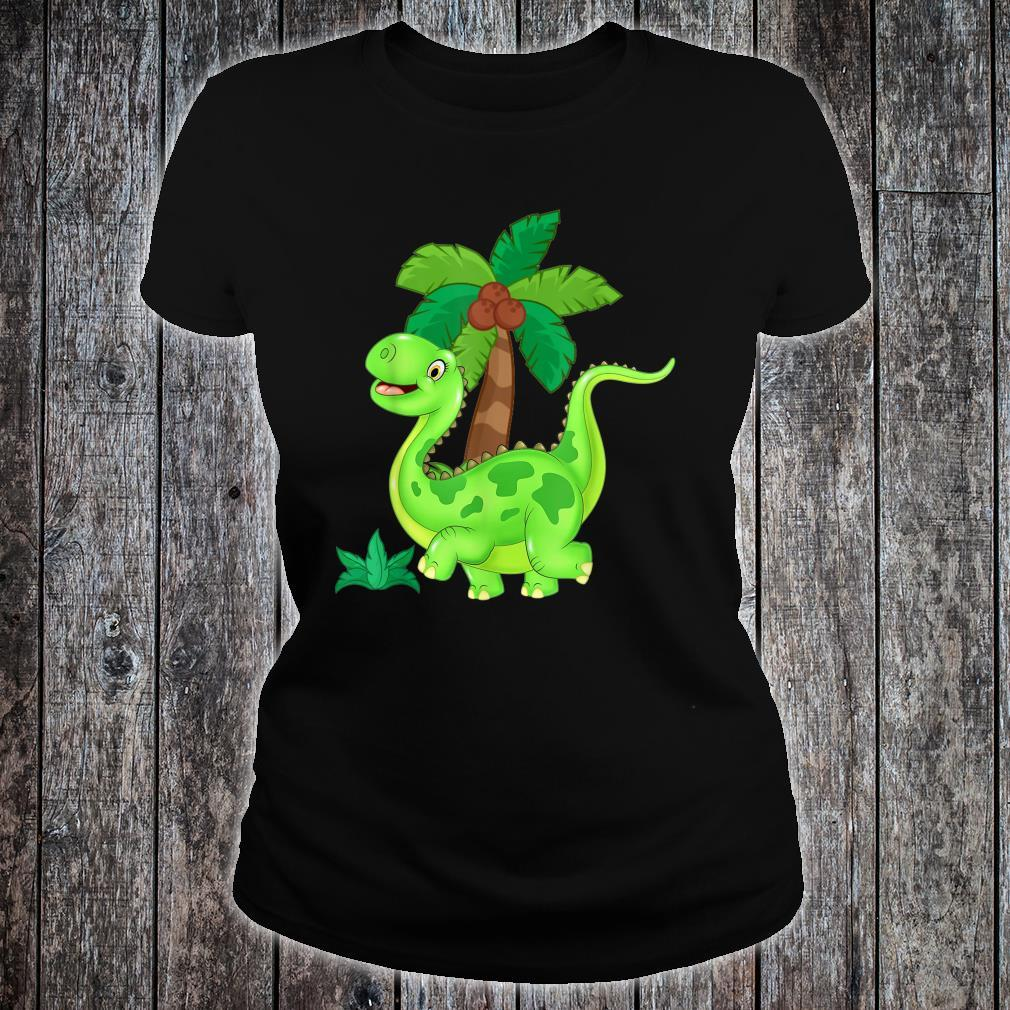 CUTE AND HAPPY GREEN CARTOON DINOSAUR Shirt ladies tee