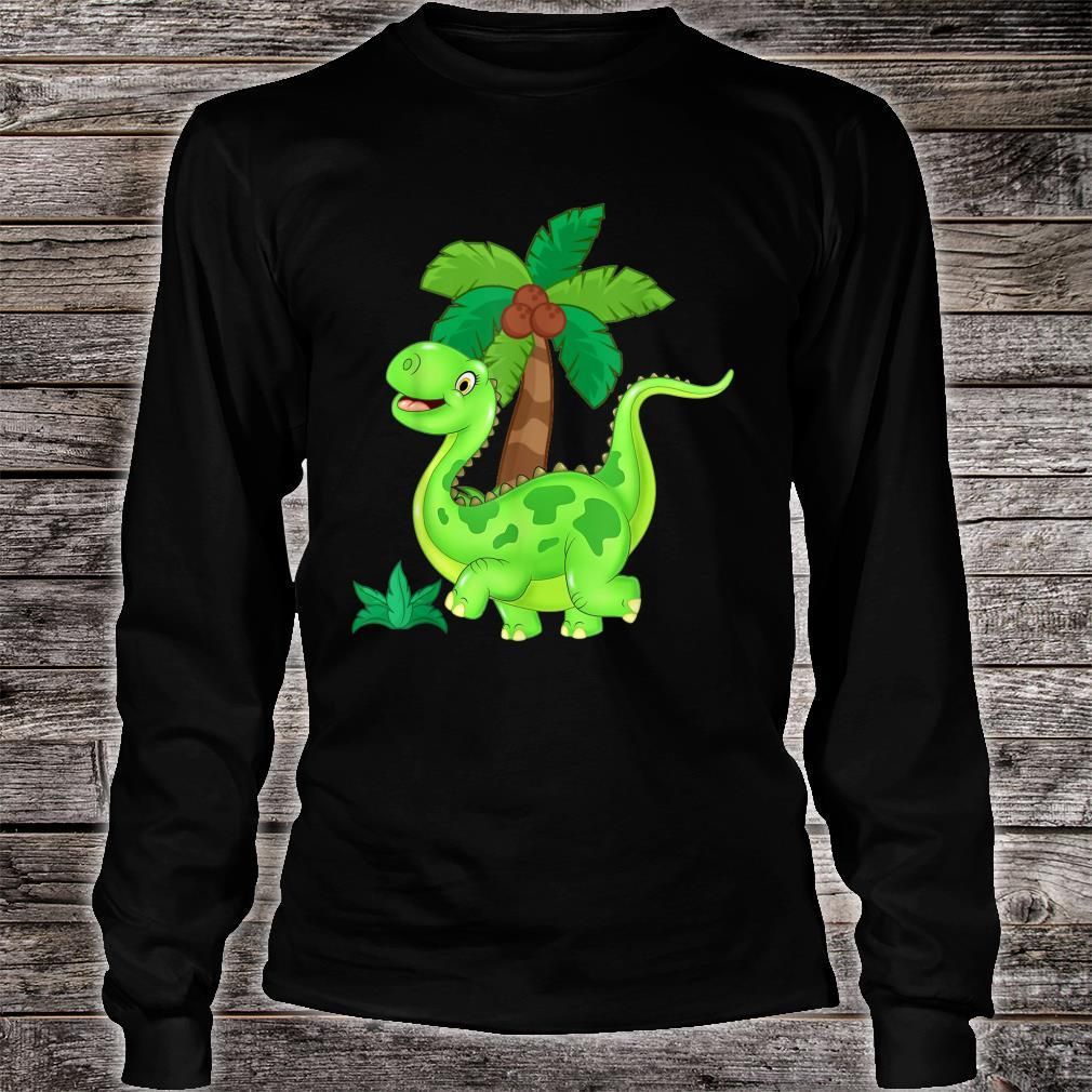 CUTE AND HAPPY GREEN CARTOON DINOSAUR Shirt long sleeved