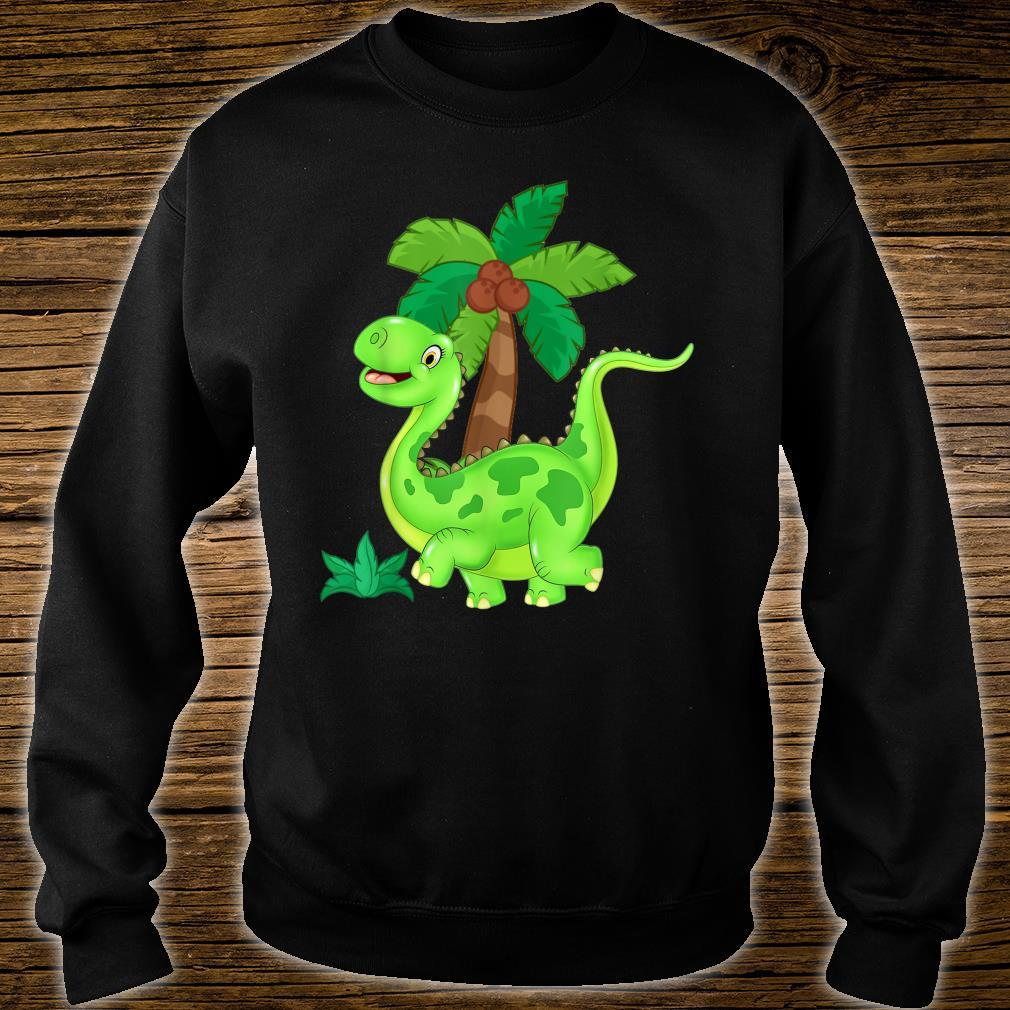 CUTE AND HAPPY GREEN CARTOON DINOSAUR Shirt sweater