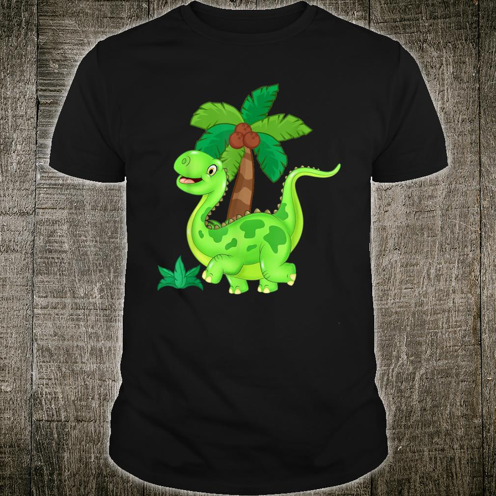 CUTE AND HAPPY GREEN CARTOON DINOSAUR Shirt