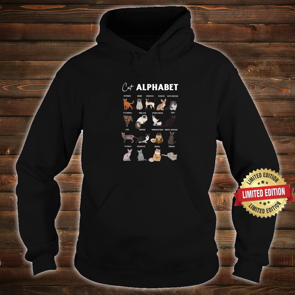 Cat Alphabet Cute Cat Breed Design Unisex Cat Shirt hoodie