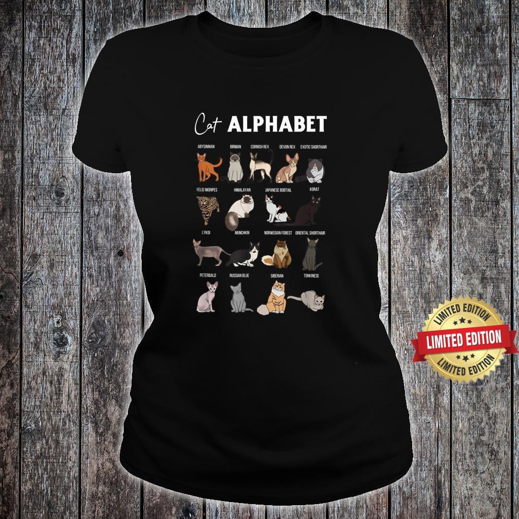 Cat Alphabet Cute Cat Breed Design Unisex Cat Shirt ladies tee