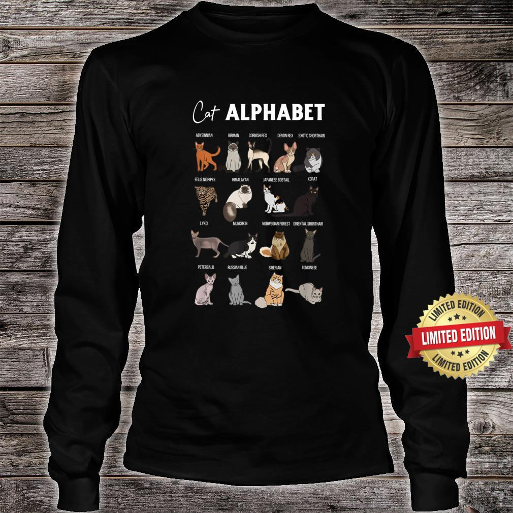 Cat Alphabet Cute Cat Breed Design Unisex Cat Shirt long sleeved