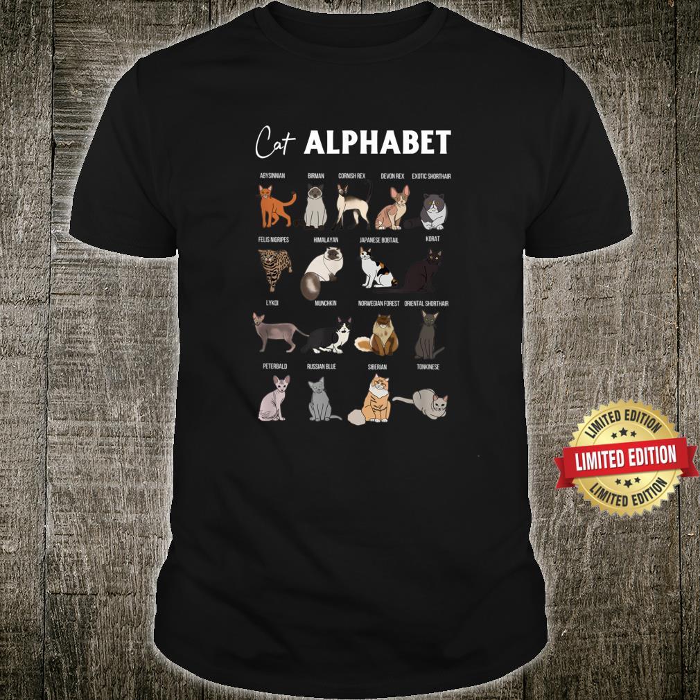 Cat Alphabet Cute Cat Breed Design Unisex Cat Shirt