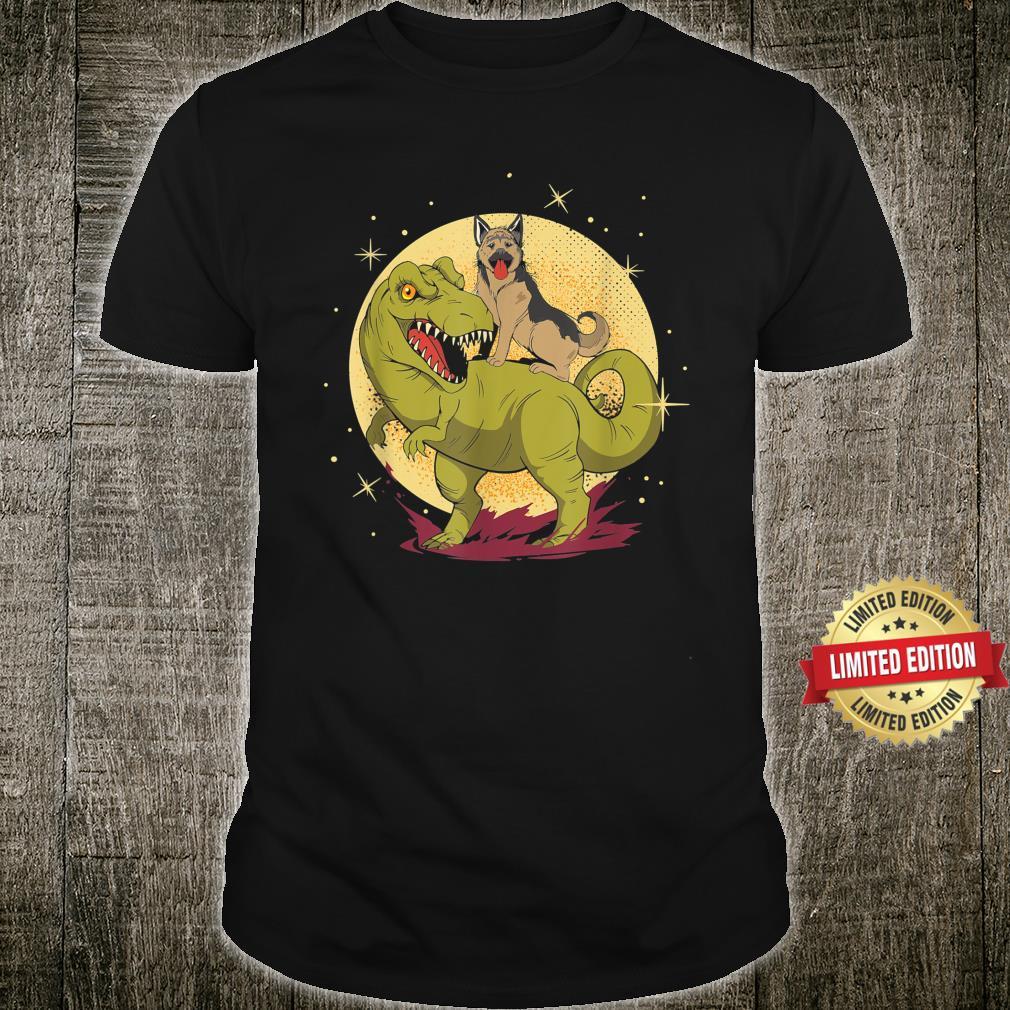 German Shepherd Riding Dinosaur TRex Nerd Dog Owner Shirt