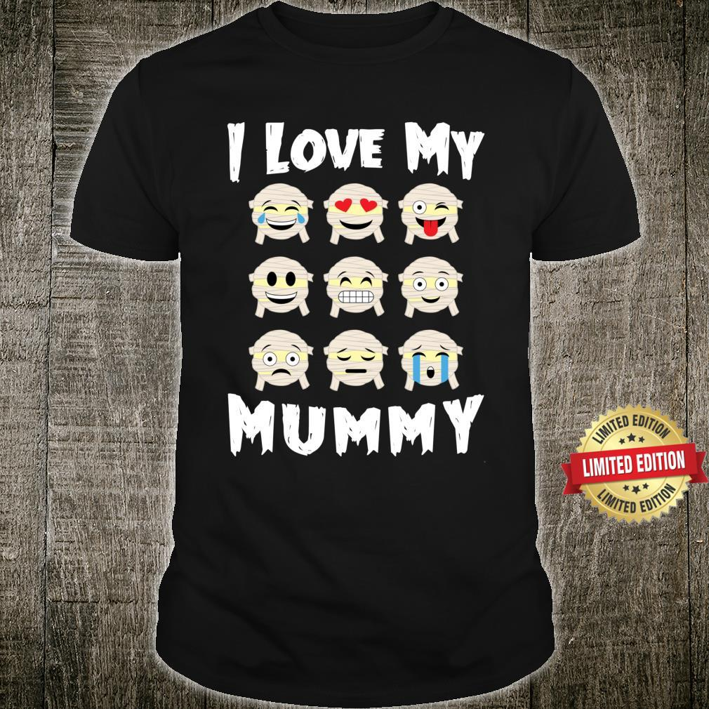 I Love My Mummy Collection Emoticon Mummies Halloween Party Costume Shirt