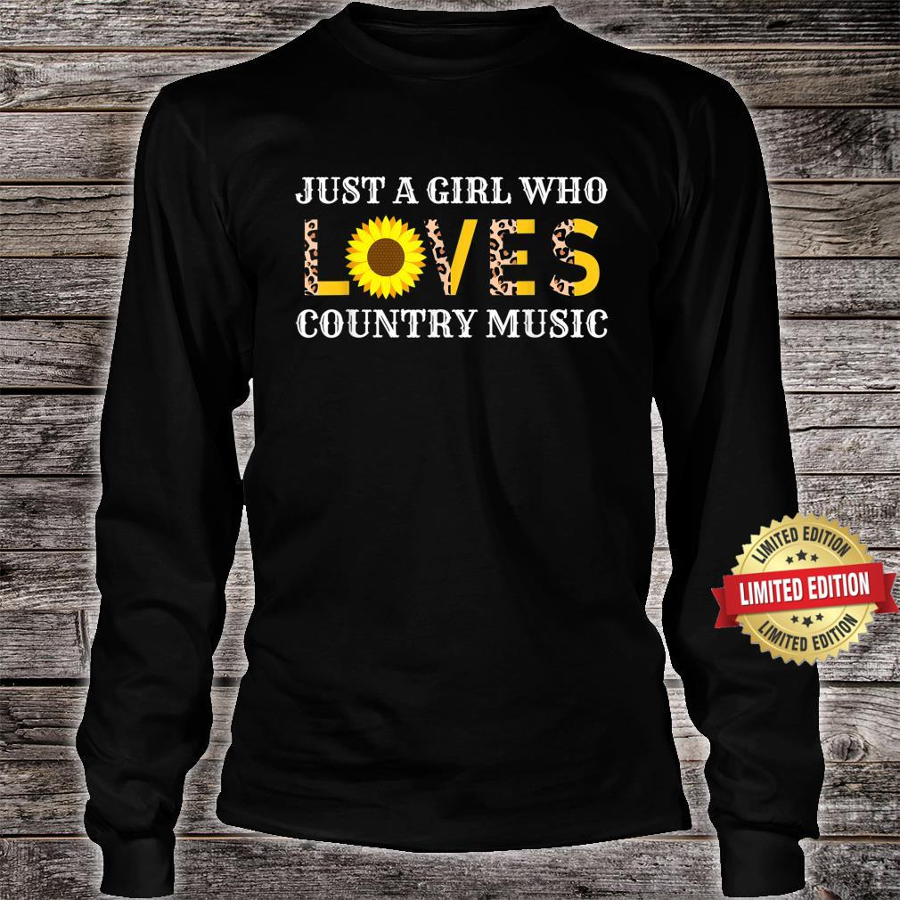 Just A Girl Who Loves Country Music Leopard Sunflower Shirt long sleeved