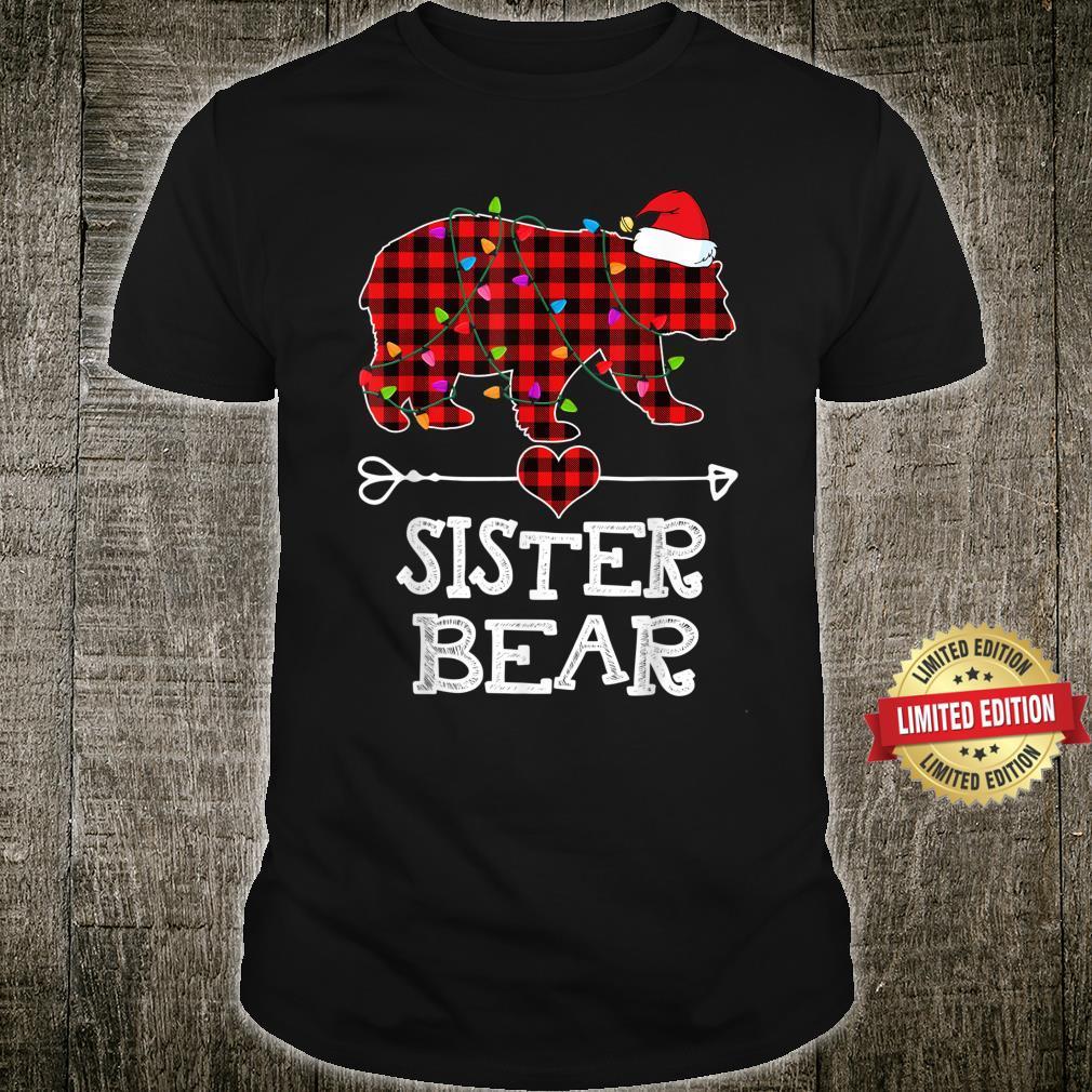 Sister Bear Christmas Pajama Red Plaid Buffalo Family Shirt