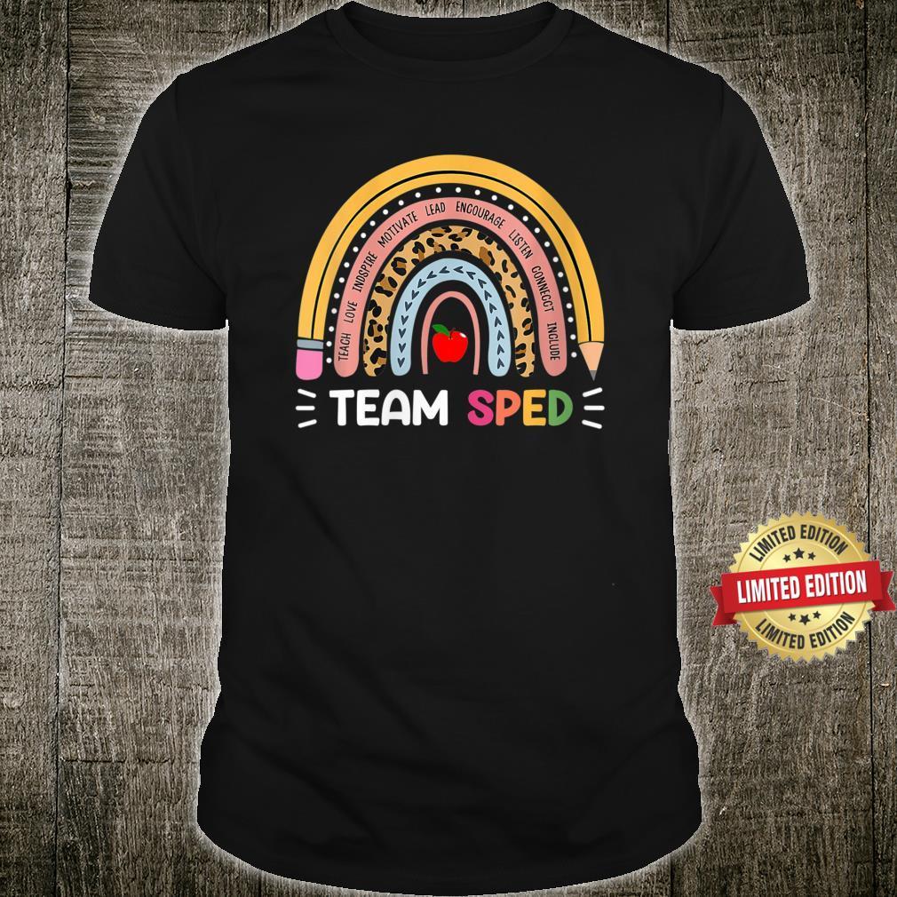 Special Education Teacher SPED Leopard Boho Rainbow Shirt