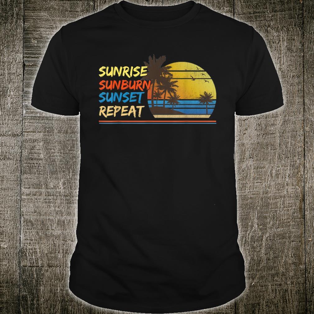 Sunrise Sunburn Sunset Repeat Tropical Beach Palm Tree Shirt