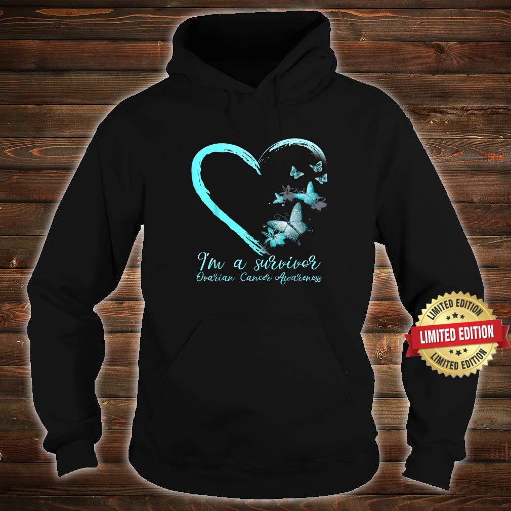 Teal Butterfly Heart Survivor Ovarian Cancer Awareness Shirt hoodie