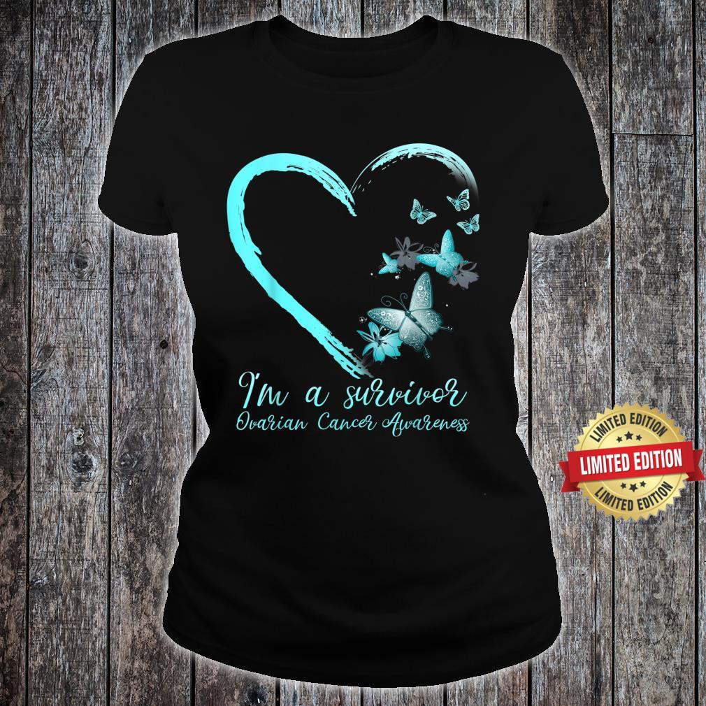 Teal Butterfly Heart Survivor Ovarian Cancer Awareness Shirt ladies tee