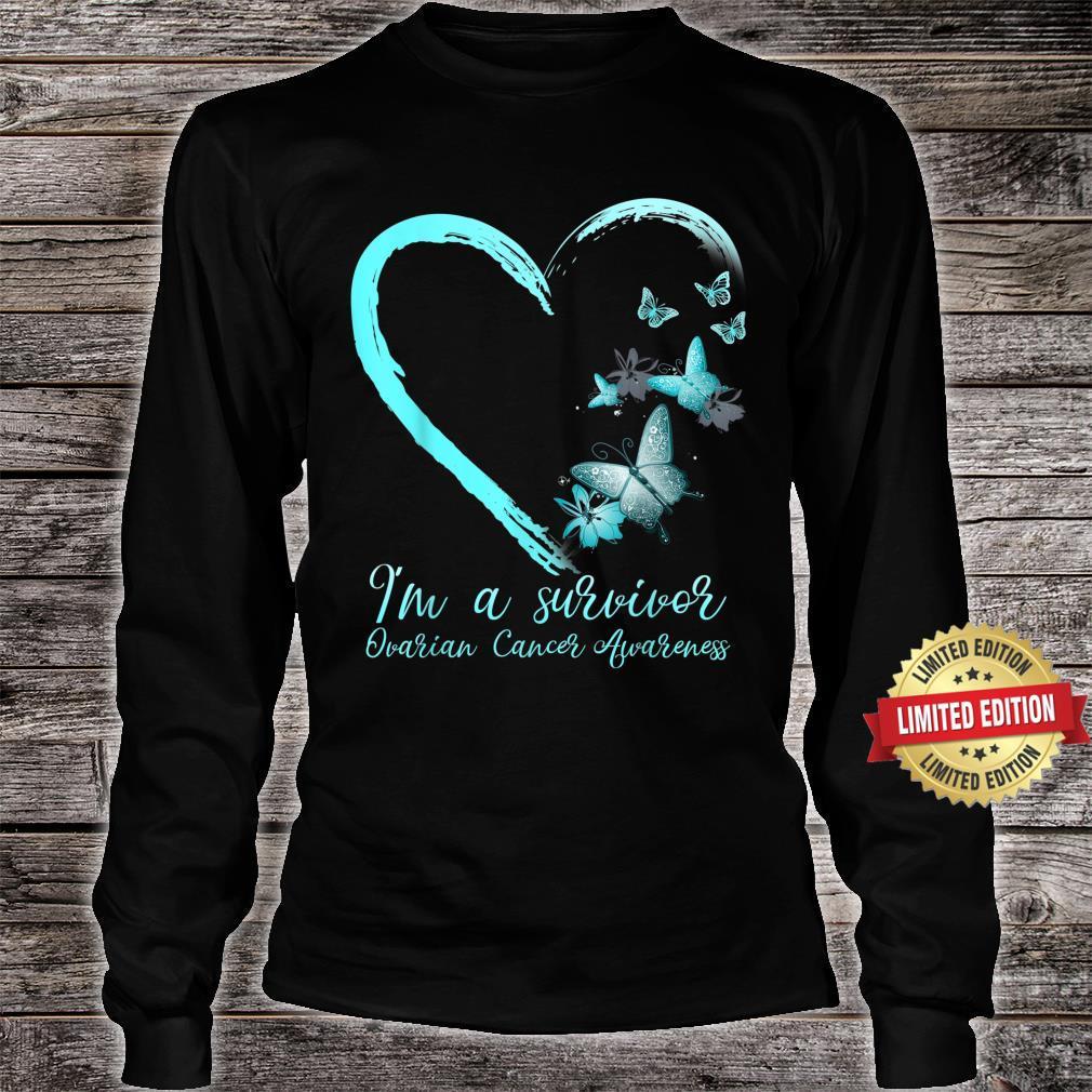 Teal Butterfly Heart Survivor Ovarian Cancer Awareness Shirt long sleeved