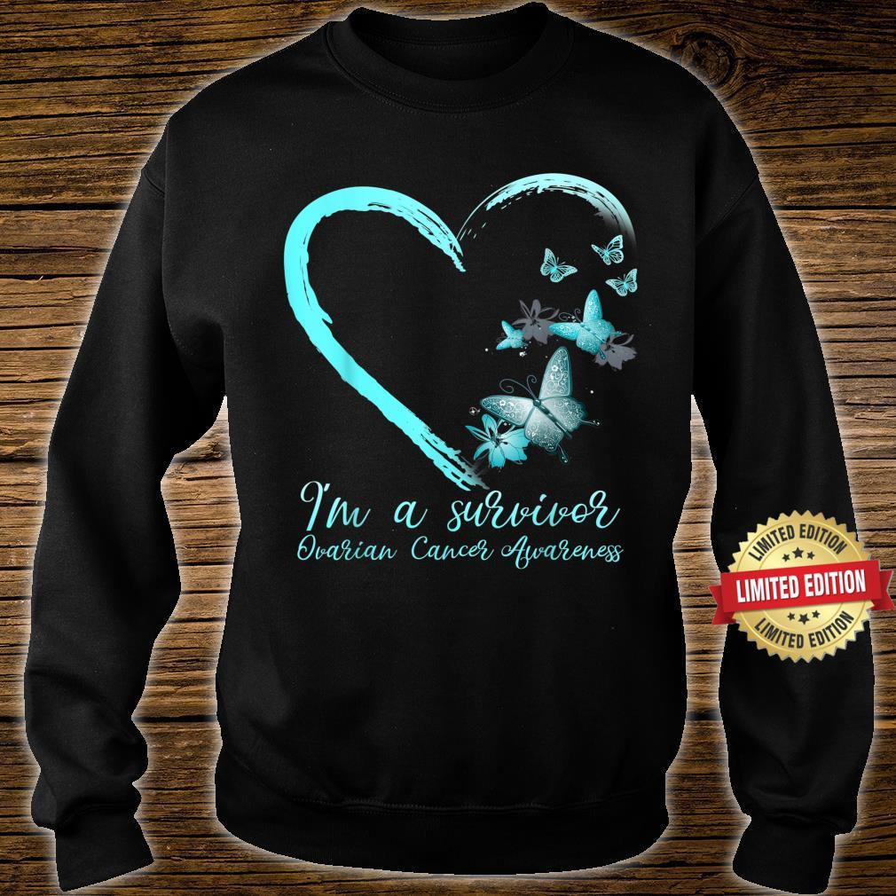 Teal Butterfly Heart Survivor Ovarian Cancer Awareness Shirt sweater