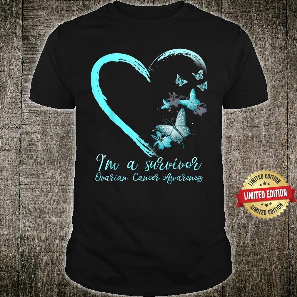Teal Butterfly Heart Survivor Ovarian Cancer Awareness Shirt