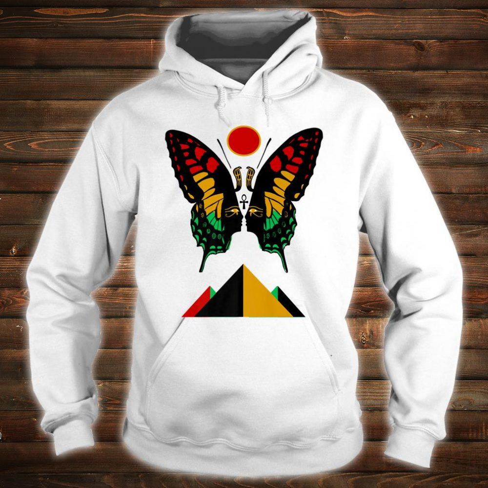 Ancient Egyptian Symbol Rasta Butterfly And Pyramids Shirt hoodie