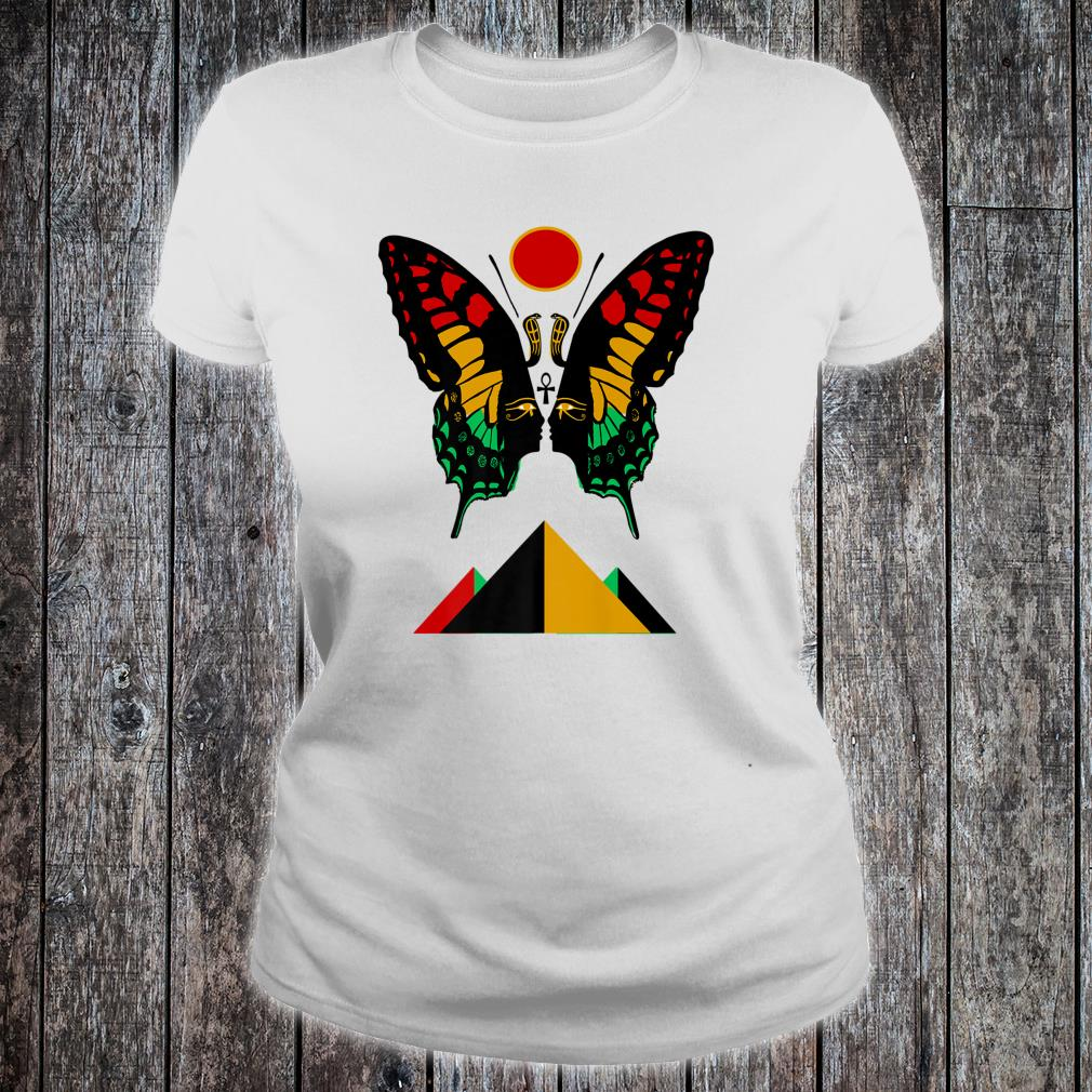 Ancient Egyptian Symbol Rasta Butterfly And Pyramids Shirt ladies tee