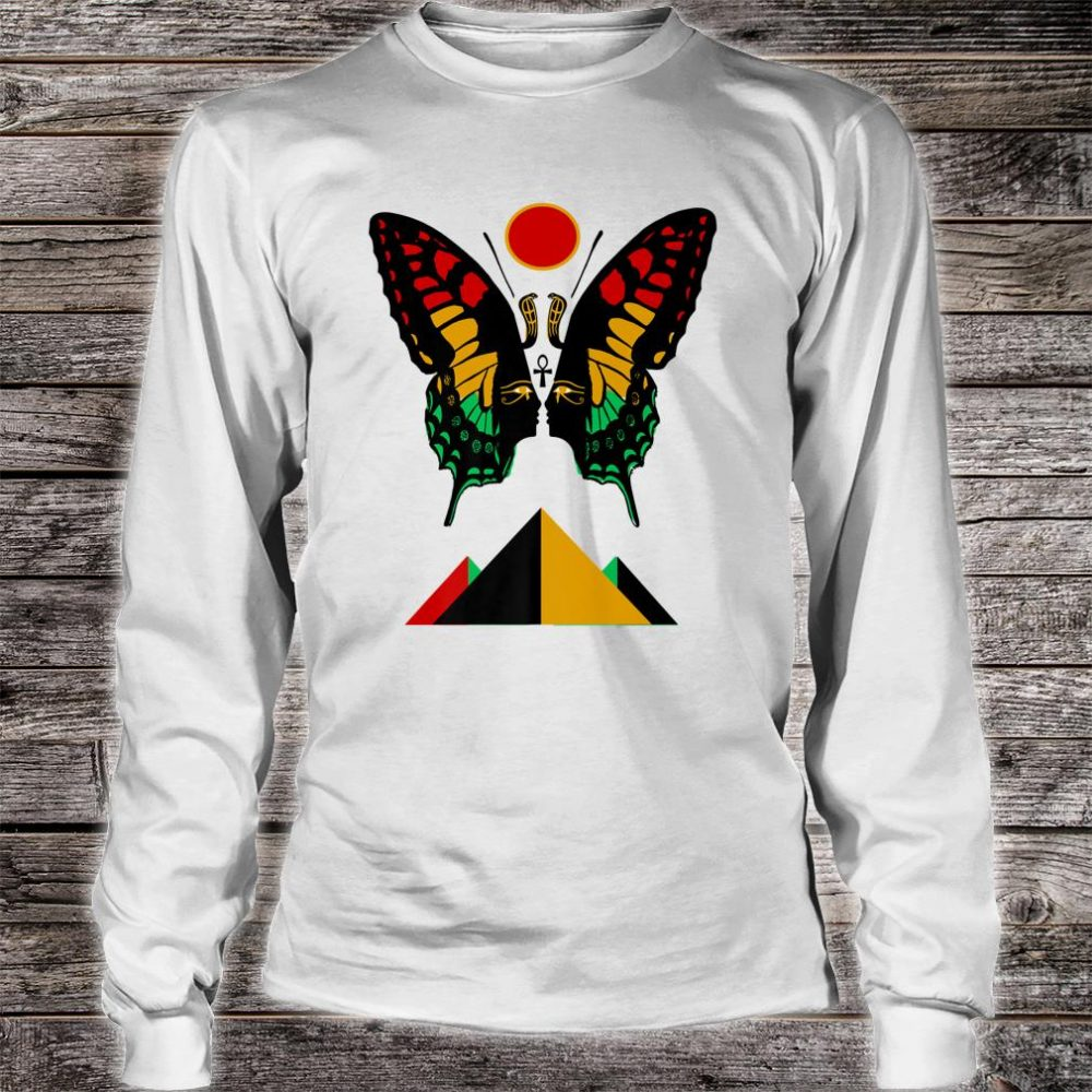Ancient Egyptian Symbol Rasta Butterfly And Pyramids Shirt long sleeved