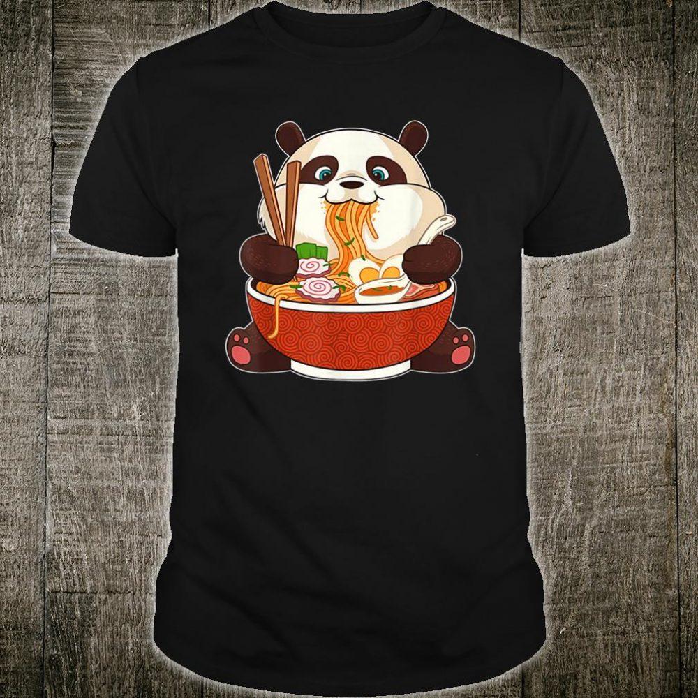 Cute Japanese Panda Bear Eating Ramen Noodles Kawaii Shirt