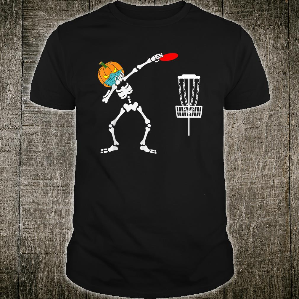 Dabbing Skeleton pumpkin wearing mask Disc Golf Halloween Shirt