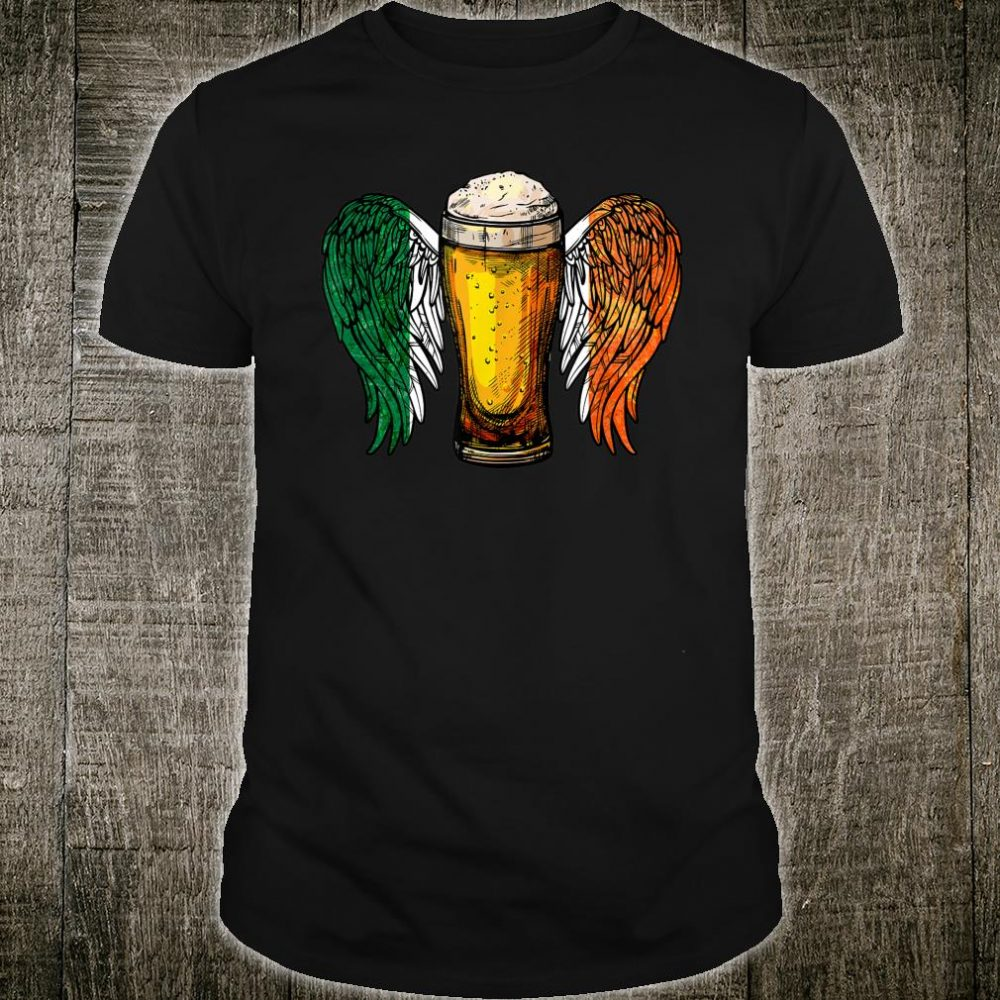 Irish Beer With Angel Wings St Patrick's Drinking Shirt