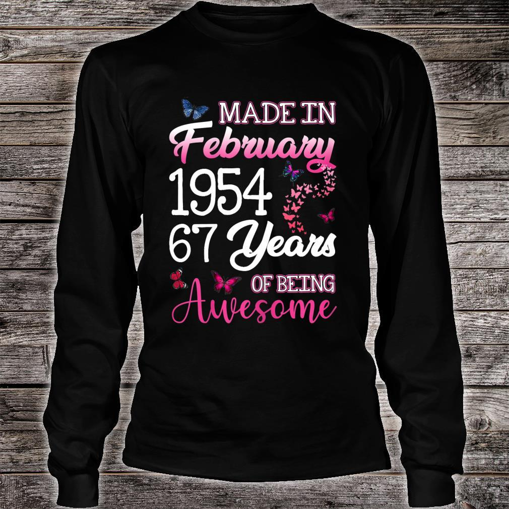 Made In February 1954 Birthday 67th Years Of Being Awesome Shirt long sleeved