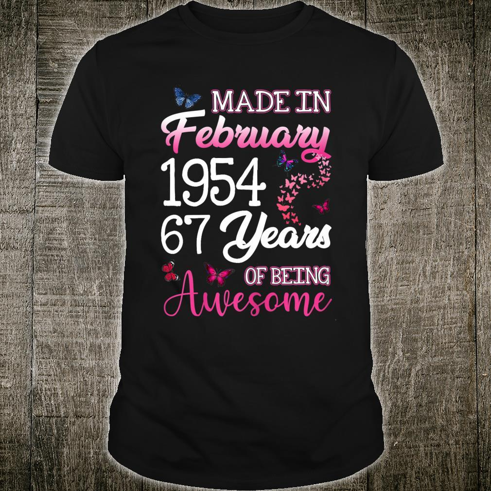 Made In February 1954 Birthday 67th Years Of Being Awesome Shirt