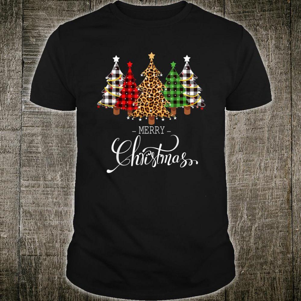 Merry Christmas Trees with Buffalo Plaid & Leopard Vintage Shirt