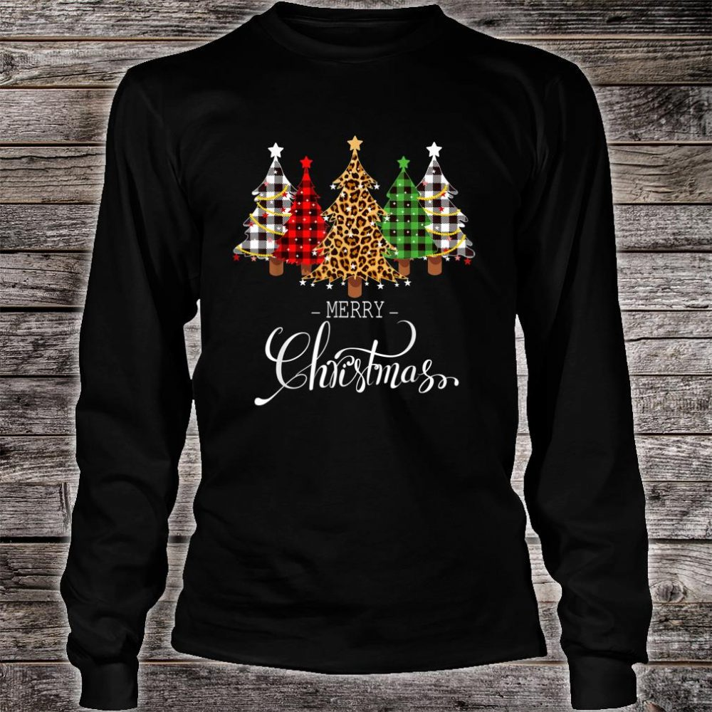 Merry Christmas Trees with Buffalo Plaid & Leopard Vintage Shirt long sleeved