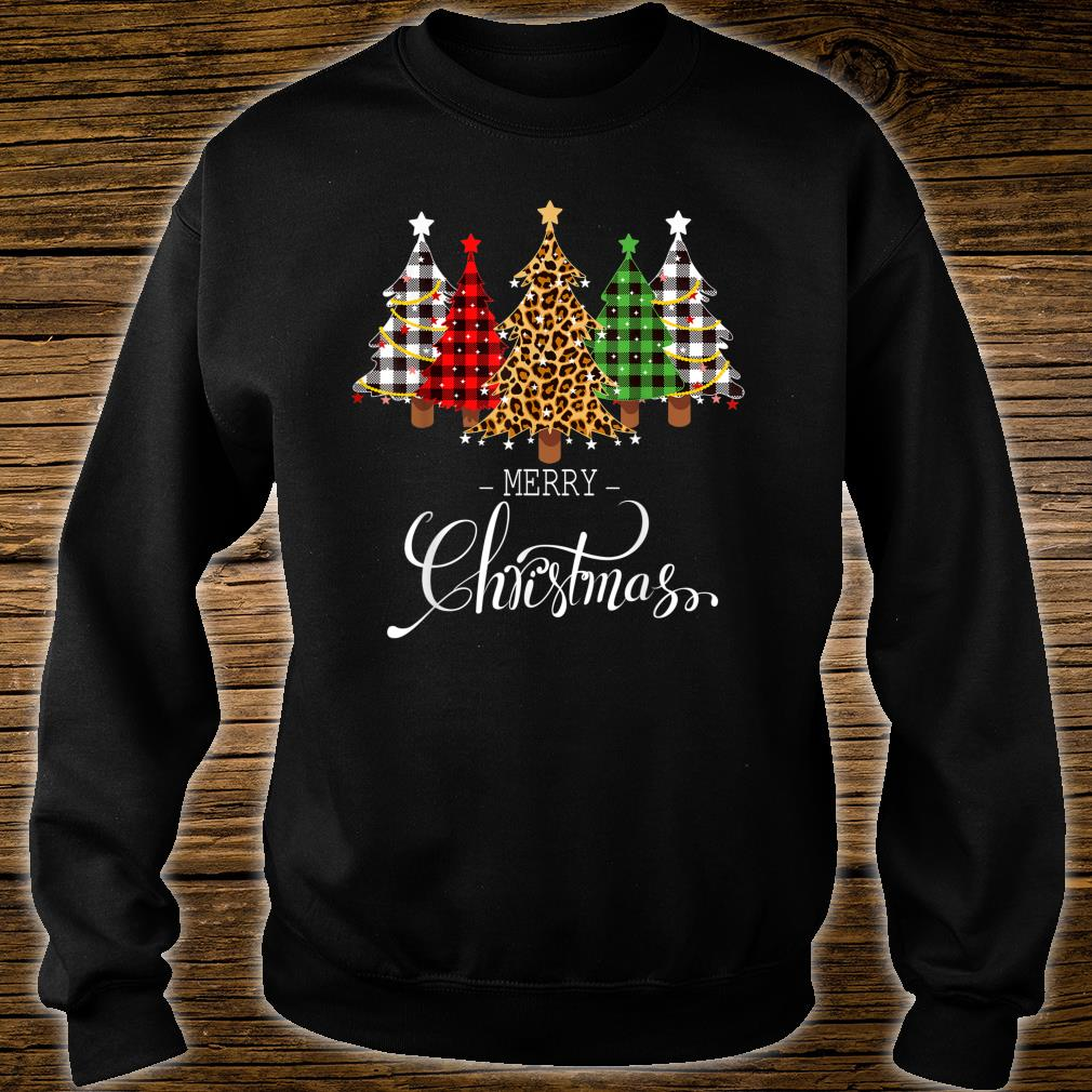 Merry Christmas Trees with Buffalo Plaid & Leopard Vintage Shirt sweater