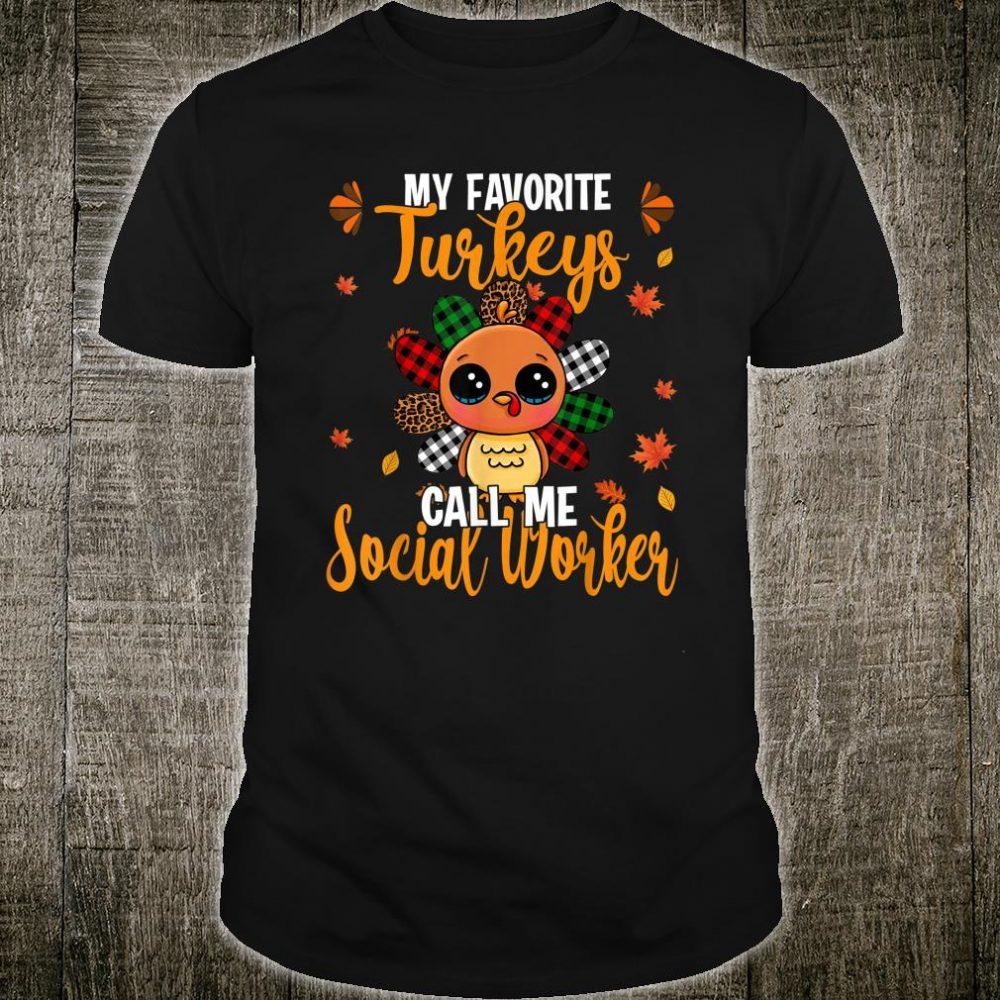 My Favorite Turkey Call Me Social Worker Leopard Plaid Shirt