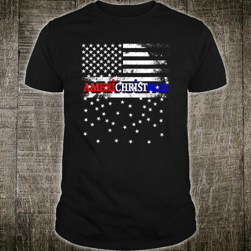 Patriotic Snowy American Christmas Flag Shirt