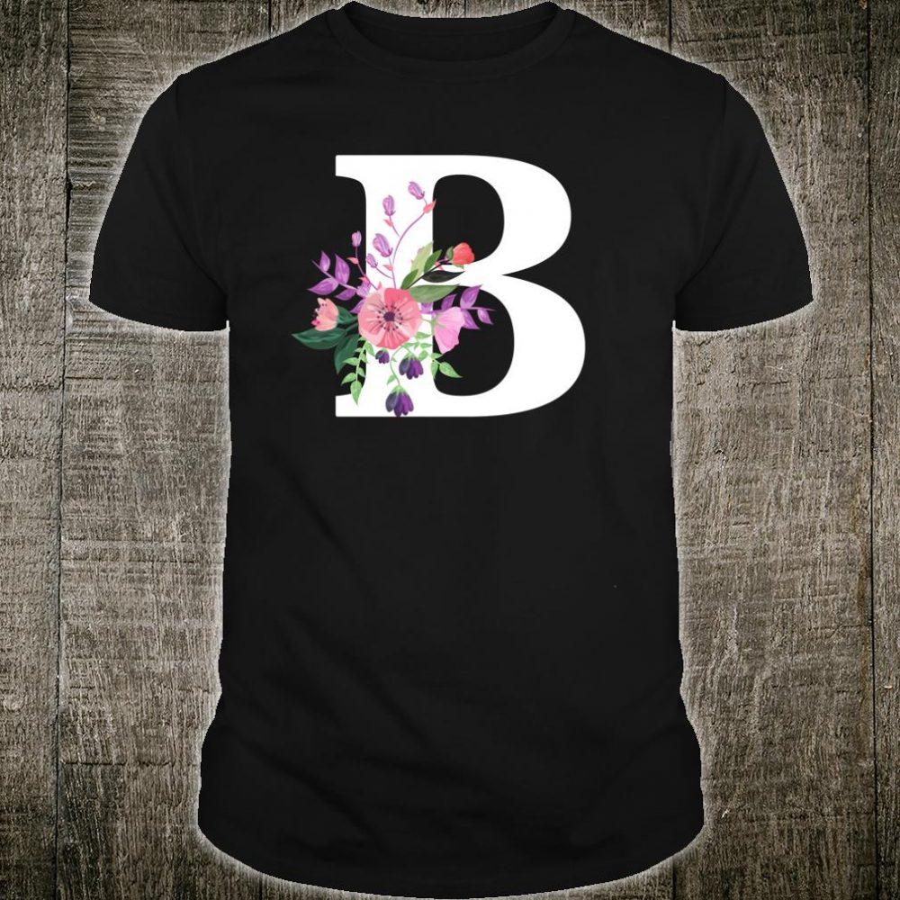 Pretty rose floral monogram white letter B Shirt