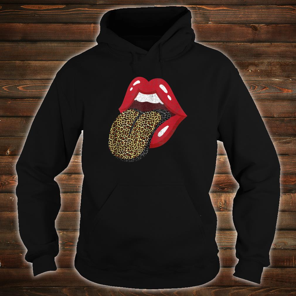 Red Lips Leopard Tongue Trendy Animal Print Shirt hoodie