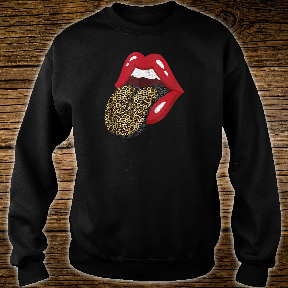 Red Lips Leopard Tongue Trendy Animal Print Shirt sweater