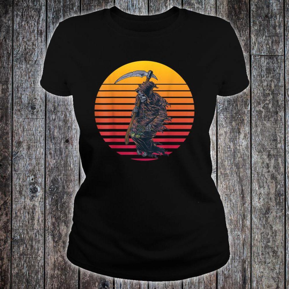 Retro Sunset Grim Reaper Shirt ladies tee