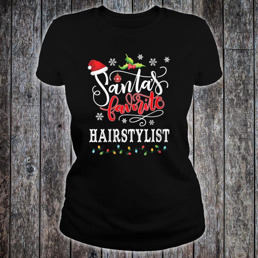 Santa's Favorite Hairstylist Christmas Shirt ladies tee