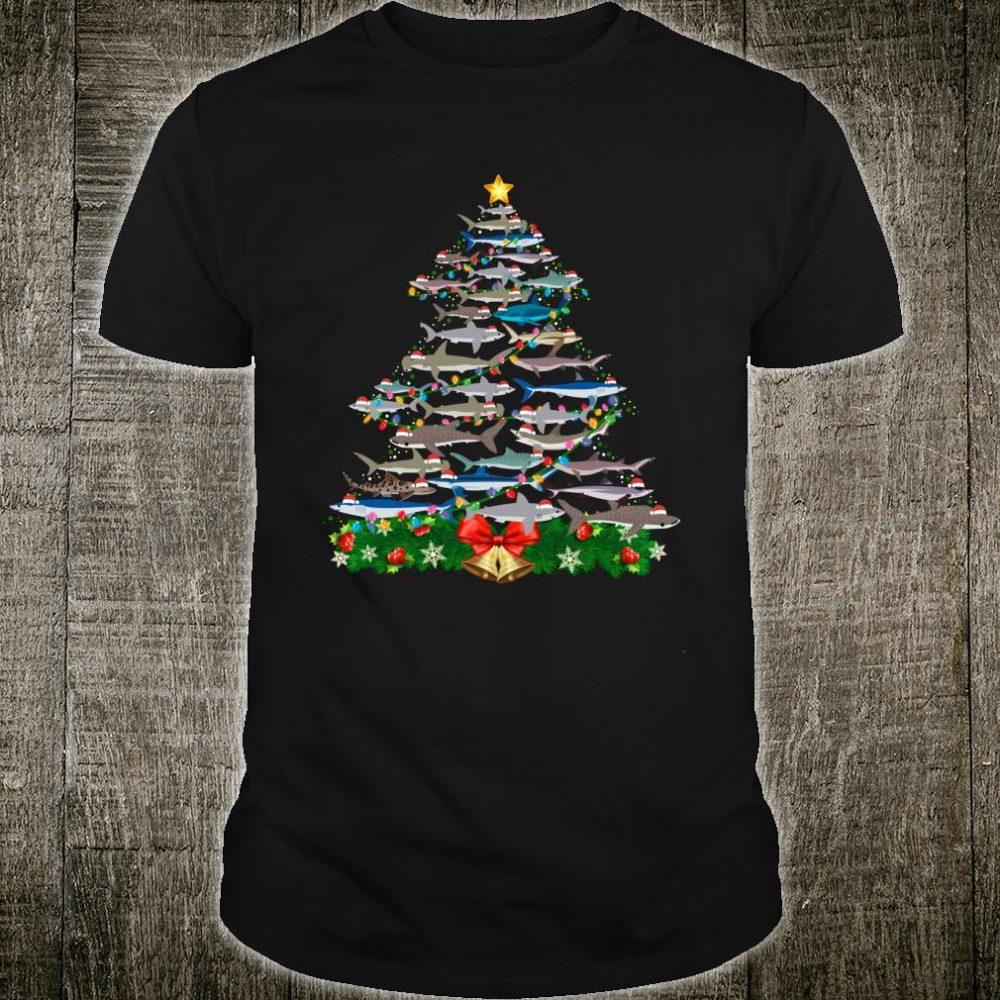 Shark Christmas Tree Xmas Santa Claus Lights Shirt