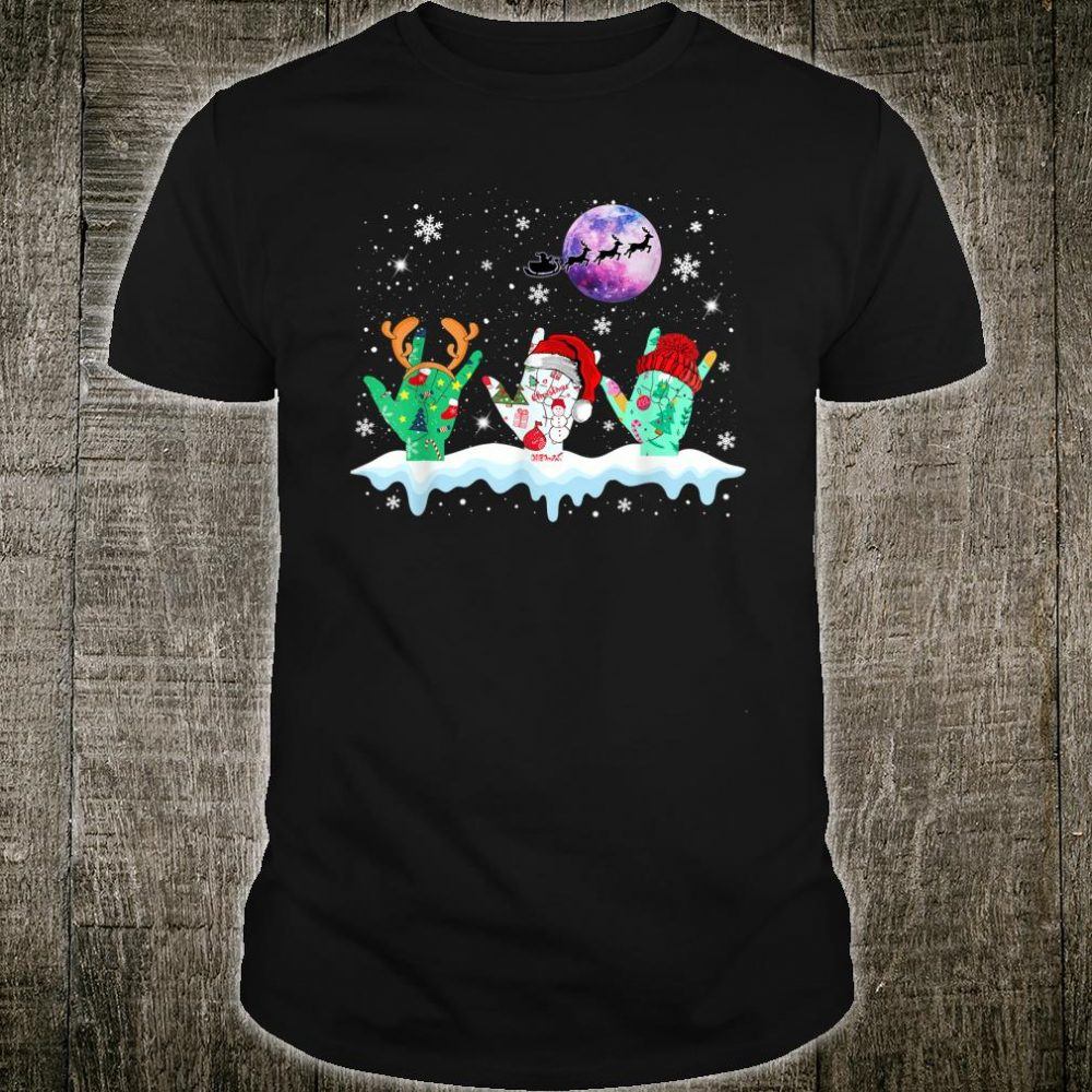Sign language light christmas reindeer Shirt