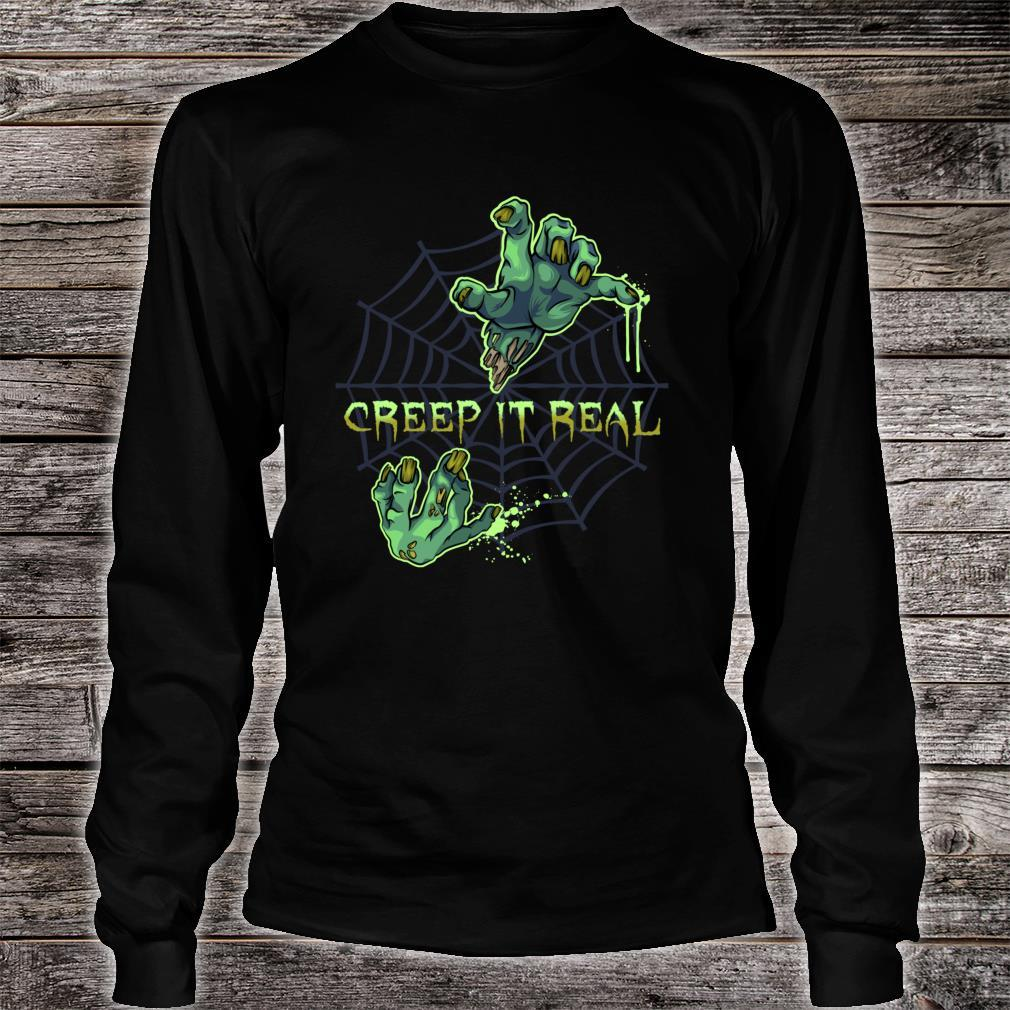 Zombie HandsCreep It Real Halloween Shirt long sleeved